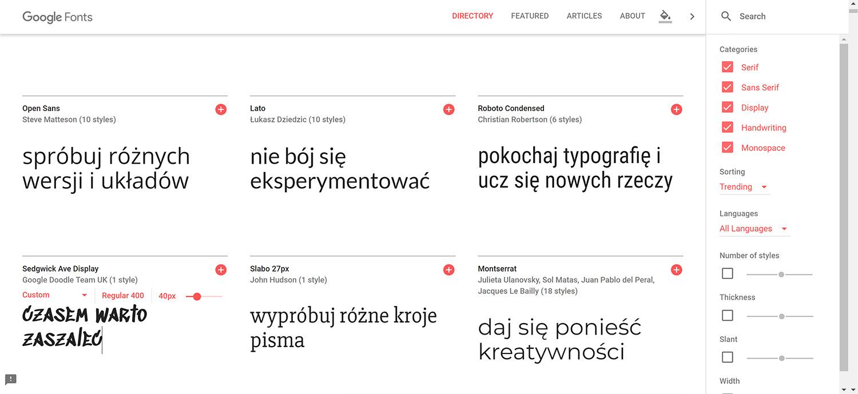 czcionki na blogu i w prezentacji google fonts