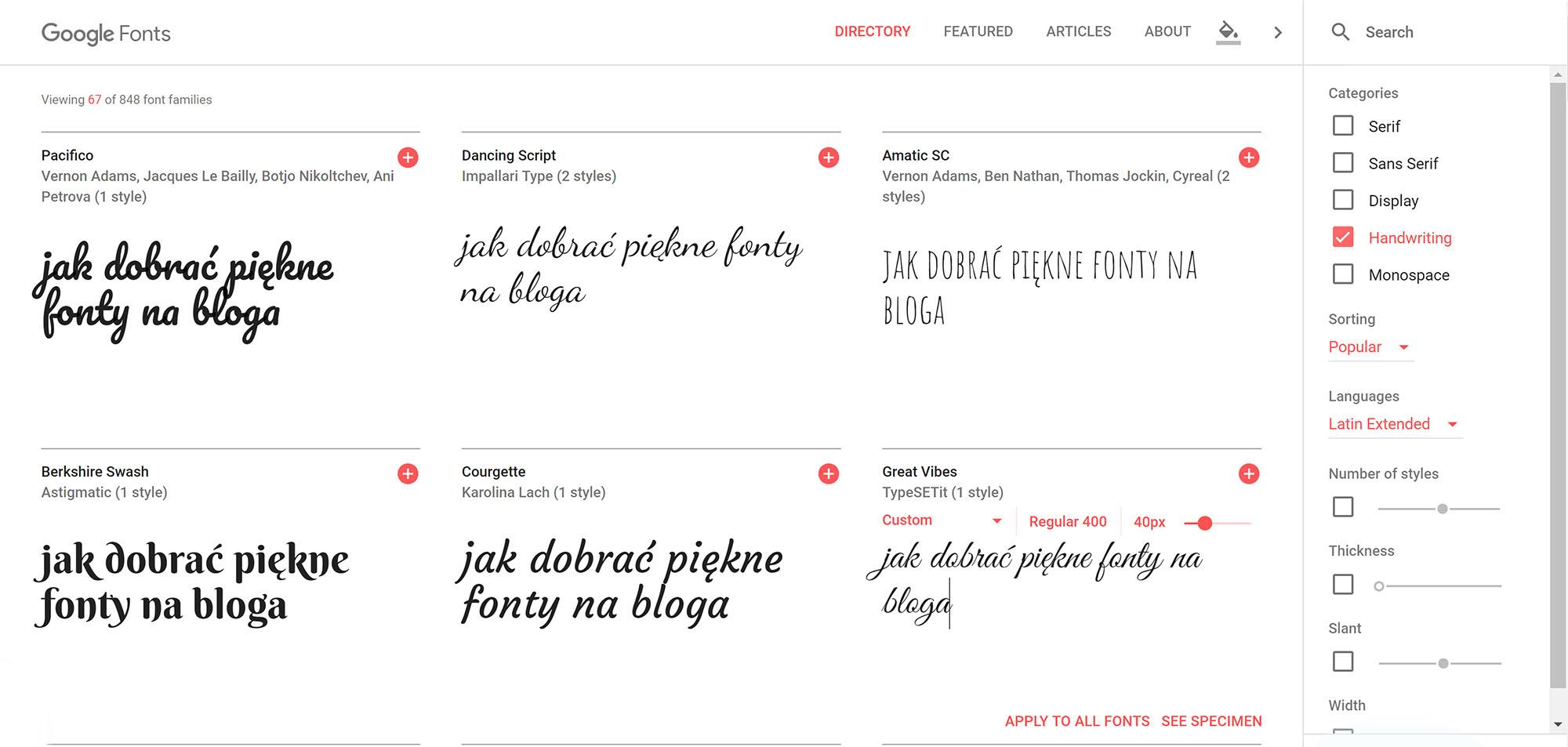 Jak korzystać z Google fonts - wybór czcionek