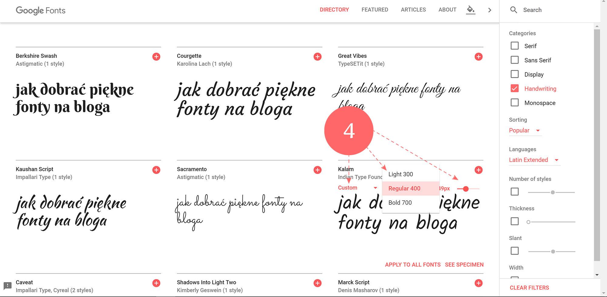 Jak korzystać z Google fonts - rodzina czcionek