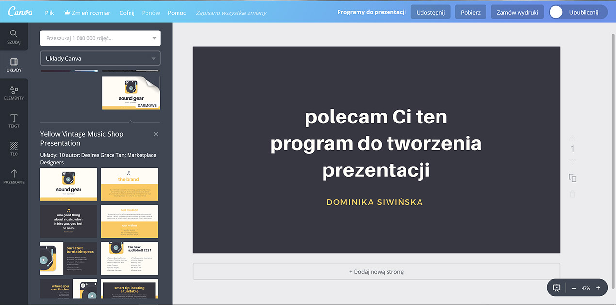 program do prezentacji canva